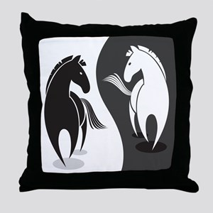 Yin Yang Horses Throw Pillow