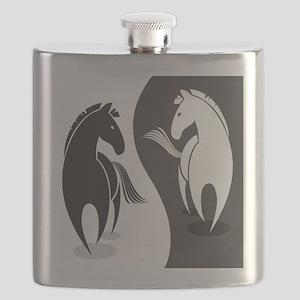 Yin Yang Horses Flask
