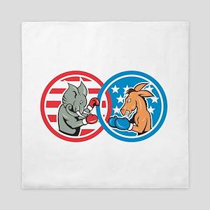 Boxing Democrat Donkey Versus Republican Elephant
