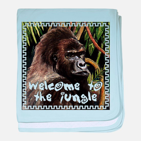 gorilla - welcome to tje jungle baby blanket