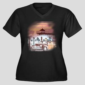 Manhattan Be Women's Plus Size V-Neck Dark T-Shirt