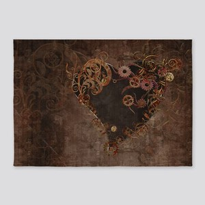 Steampunk Heart 5'x7'Area Rug
