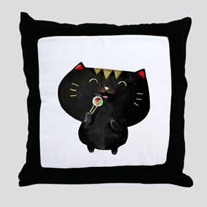 Black Sushi Cat Throw Pillow