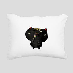 Black Sushi Cat Rectangular Canvas Pillow