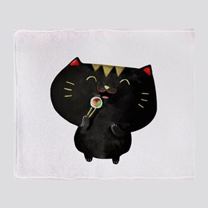 Black Sushi Cat Throw Blanket