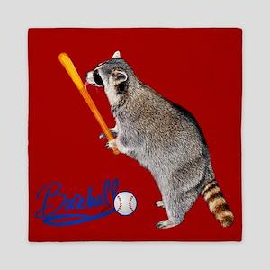 Baseball, Raccoon Queen Duvet