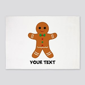 Personalized Gingerbread Man 5'x7'Area Rug