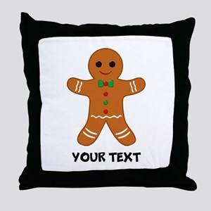 Personalized Gingerbread Man Throw Pillow