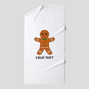 Personalized Gingerbread Man Beach Towel