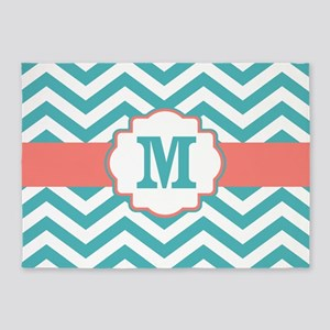 Teal Coral Chevron Monogram 5'x7'Area Rug