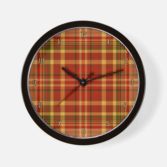 Pizza Plaid Wall Clock