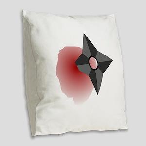 Death by Shuriken Burlap Throw Pillow