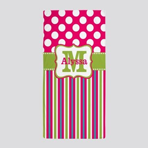 2d63b7c161ec1 Pink Lime Green Dots Personalized Beach Towel