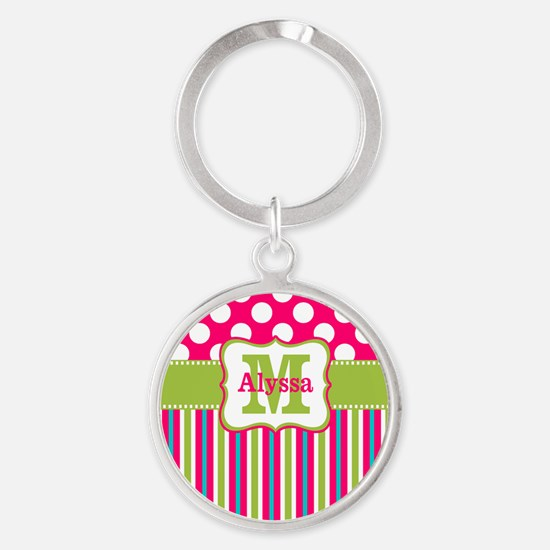 Pink Lime Green Dots Personalized Keychains