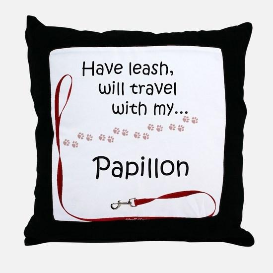 Papillon Travel Leash Throw Pillow