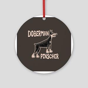 Doberman Primitive Ornament (Round)