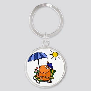 Hippo at the Beach Round Keychain