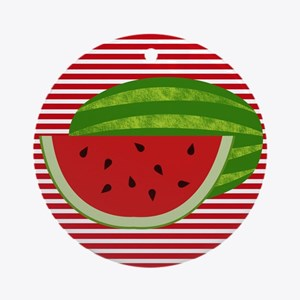 Watermelon on Red and White Ornament (Round)