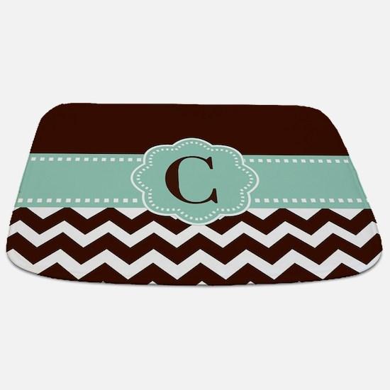 Brown Mint Chevron Monogram Bathmat