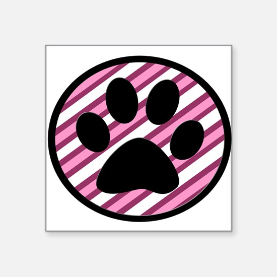 Paw Print on Pink Stripes Sticker