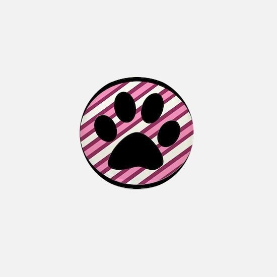 Paw Print on Pink Stripes Mini Button