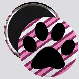 Paw Print on Pink Stripes Magnets