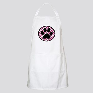 Paw Print on Pink Stripes Apron