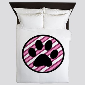 Paw Print on Pink Stripes Queen Duvet