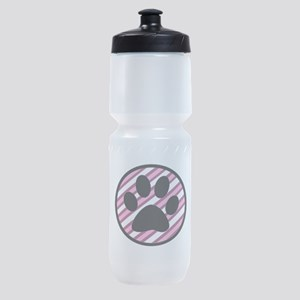 Paw Print on Pink Stripes Sports Bottle