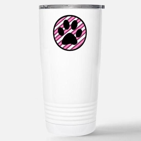 Paw Print on Pink Stripes Travel Mug