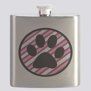 Paw Print on Pink Stripes Flask