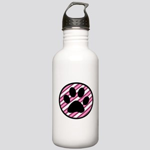 Paw Print on Pink Stripes Water Bottle