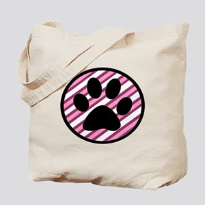 Paw Print on Pink Stripes Tote Bag