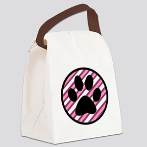 Paw Print on Pink Stripes Canvas Lunch Bag