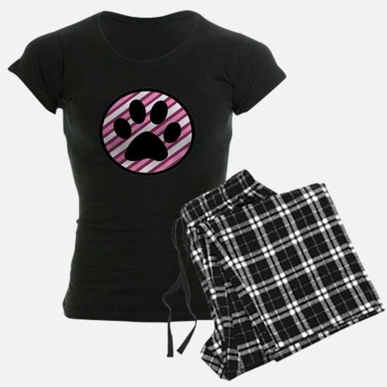 Paw Print on Pink Stripes Pajamas