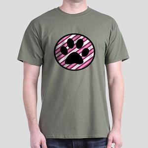 Paw Print on Pink Stripes T-Shirt