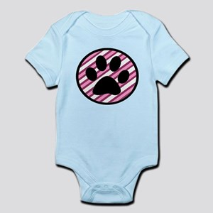 Paw Print on Pink Stripes Body Suit