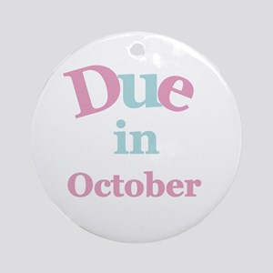 Pink Due in October Ornament (Round)