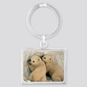 Polar Bear Cubs in the Snow Landscape Keychain