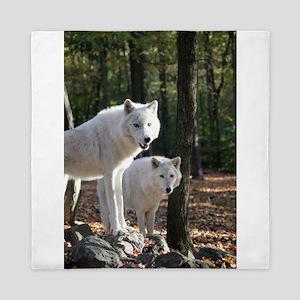 White Wolves Queen Duvet