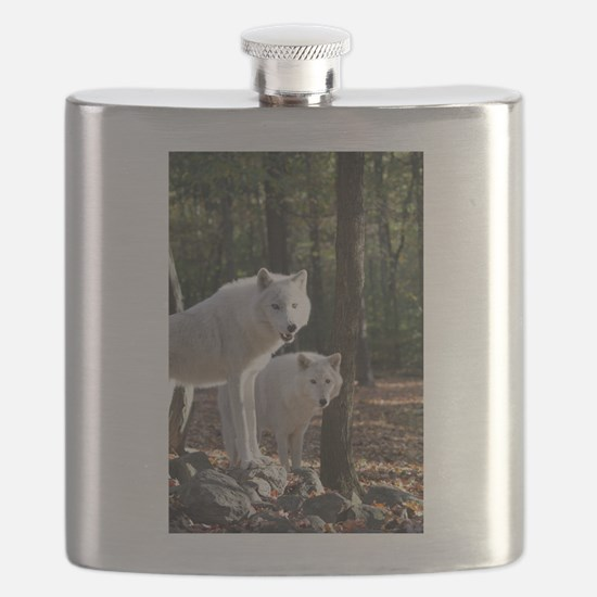 White Wolves Flask
