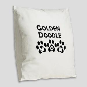 Goldendoodle Mom Burlap Throw Pillow