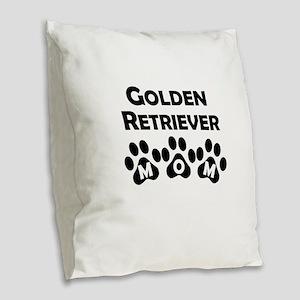 Golden Retriever Mom Burlap Throw Pillow