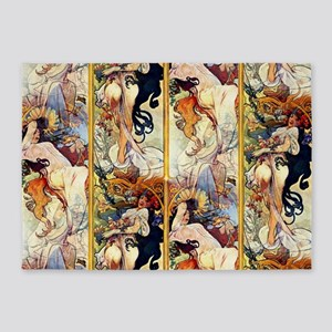 Alfons Mucha 1895 The Four Seasons 5'x7'Area Rug