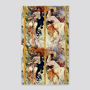 Alfons Mucha 1895 The Four Seasons Area Rug