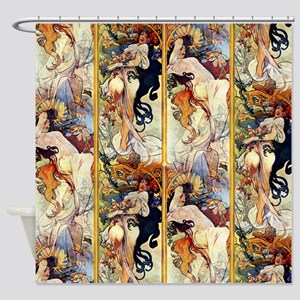 Alfons Mucha 1895 The Four Seasons Shower Curtain