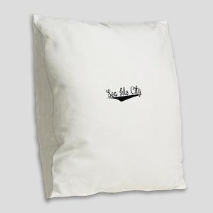 Sea Isle City, Retro, Burlap Throw Pillow