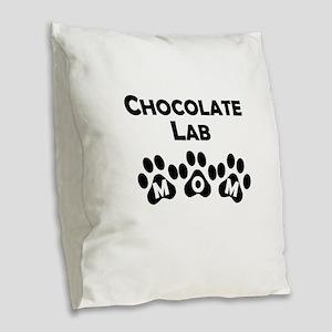 Chocolate Lab Mom Burlap Throw Pillow