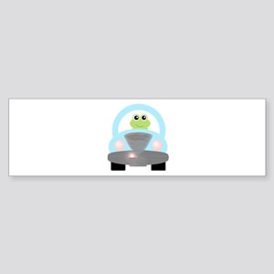 Cute Green Frog and Car Bumper Sticker