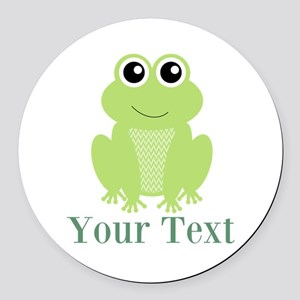 Personalizable Green Frog Round Car Magnet
